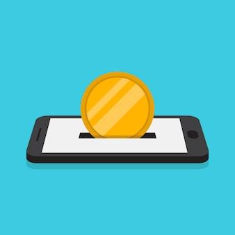 Donazione online, pagamento online, stile di design piatto illustrazione