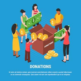 Donazioni che pubblicizzano con la gente che mette le monete e le fatture nell'illustrazione isometrica di vettore della scatola di donazione