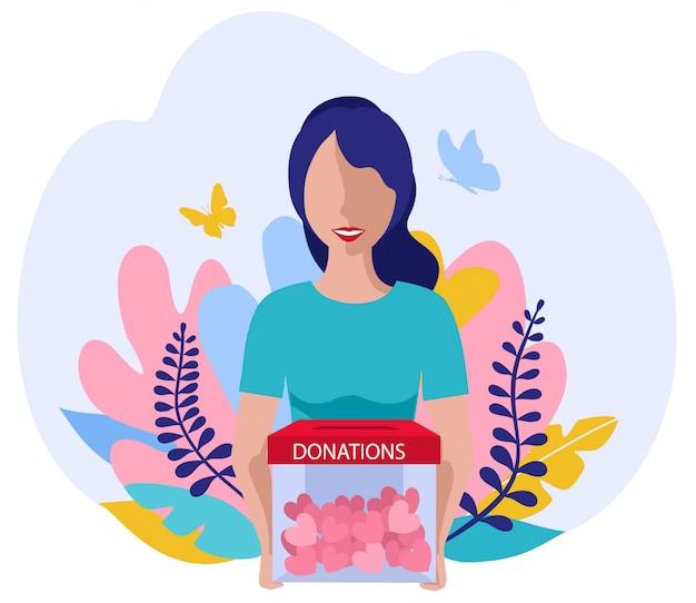 Donazioni e beneficenza. concetto di volontariato di vettore con ragazza piatta con cuori