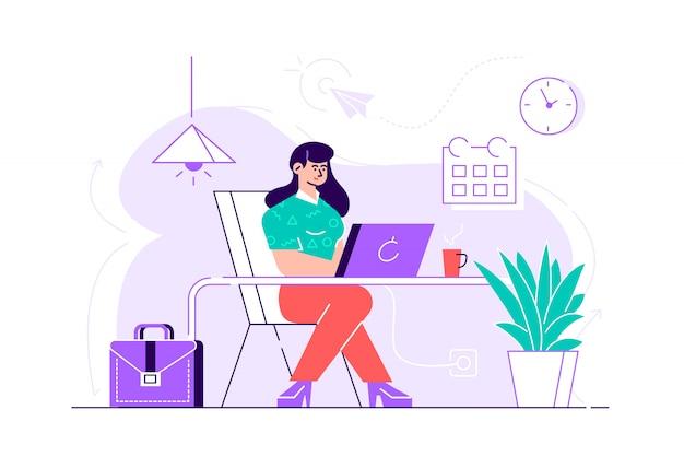 Donna adorabile che si siede allo scrittorio e che lavora al computer portatile. giovane lavoratrice sveglia, lavoratore indipendente creativo o scrittore nel luogo di lavoro. routine di lavoro. illust variopinto del fumetto piano moderno