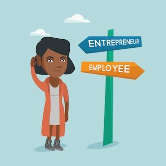 Donna africana confusa che sceglie via di carriera.