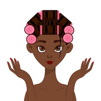 Donna africana di bellezza con i bigodini. stile cartone animato.