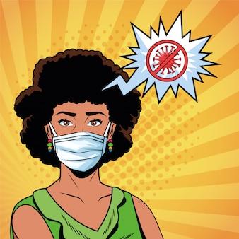 Donna afro con maschera facciale e stop messaggio covid 19
