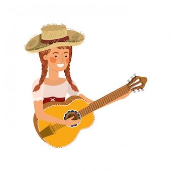 Donna agricoltore con strumento musicale