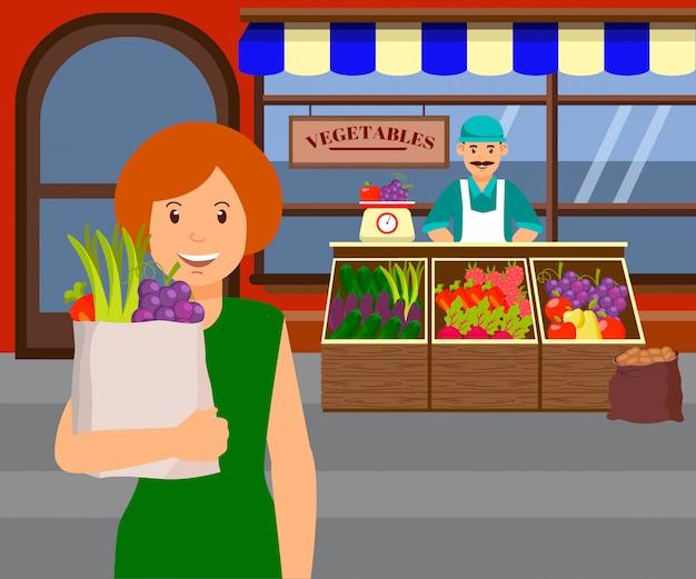 Donna all'illustrazione piana di vettore del mercato degli agricoltori