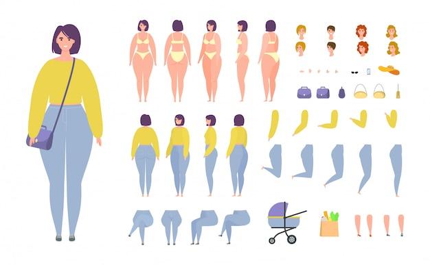 Donna, animazione casuale dell'insieme dell'illustrazione del costruttore della ragazza isolata.