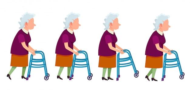 Donna anziana con illustrazione di telaio a piedi