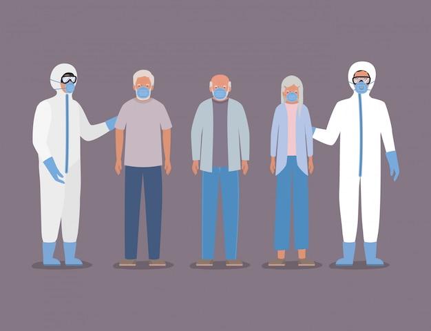 Donna anziana con maschere e dottori con tute protettive contro il disegno covid 19