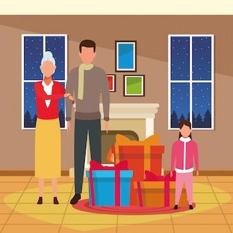 Donna anziana e uomini dell'avatar con i regali di natale