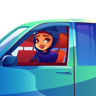 Donna araba che guida l'illustrazione dell'automobile della ragazza ricca moderna nel hijab dell'arabia saudita