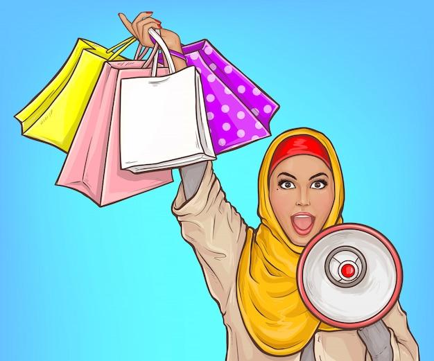 Donna araba nel hijab con l'illustrazione rumorosa del fumetto dei sacchetti della spesa e dell'altoparlante