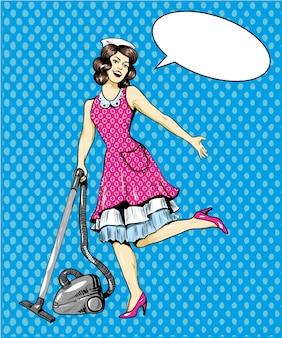 Donna aspirapolvere piano in casa. servizio di pulizia