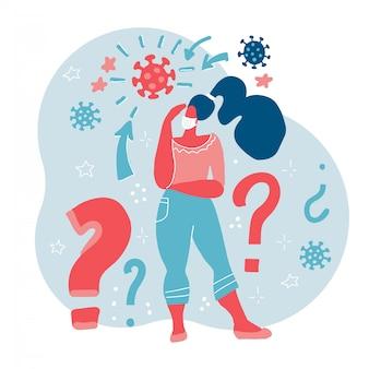 Donna astratta nella mascherina medica respiratoria con i punti interrogativi. protezione contro le malattie. prevenzione della malattia illustrazione piatta