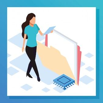 Donna avatar con grande cartella, design colorato