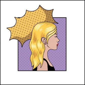 Donna bionda con stile fumetto pop art