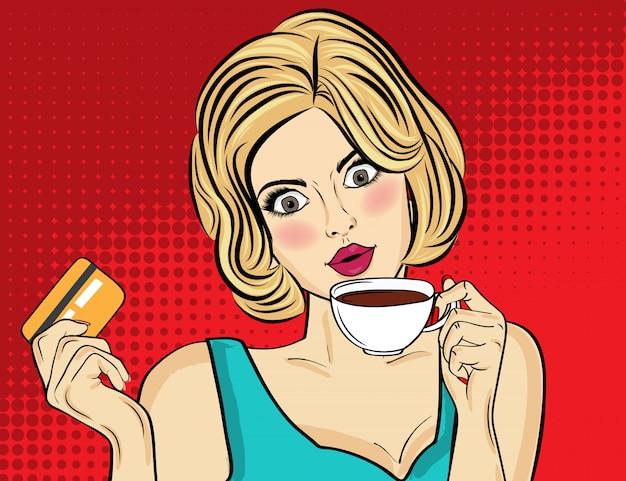 Donna bionda sexy pop art con tazza di caffè. manifesto pubblicitario in stile fumetto. vettore