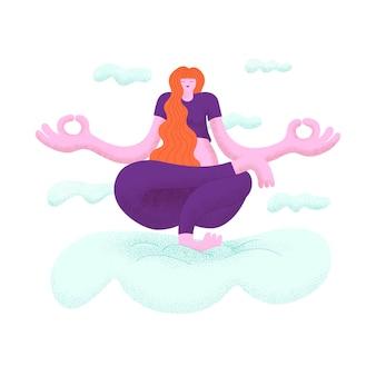 Donna capelli lunghi che praticano yoga in equilibrio su un piede tra le nuvole