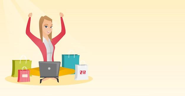 Donna caucasica che utilizza un computer portatile per acquisto online