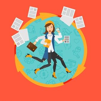 Donna che affronta il multitasking.