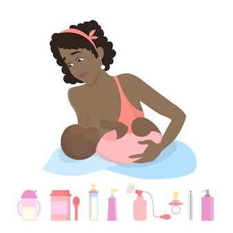 Donna che allatta alimentazione bambino su bianco.