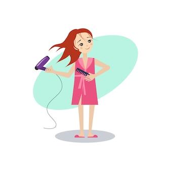 Donna che asciuga i capelli.
