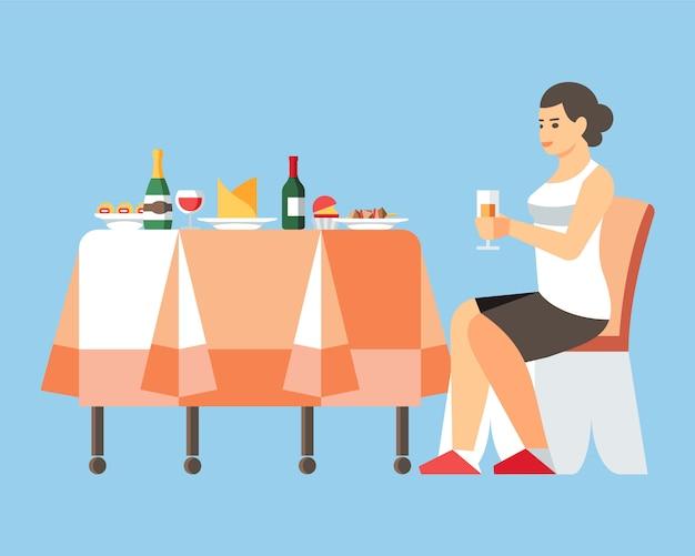 Donna che beve champagne flat vector illustration