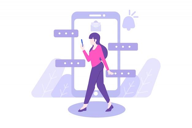 Donna che cammina e che chiacchiera illustrazione piatta