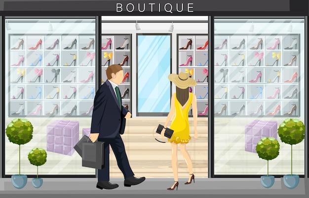 Donna che cammina in un'illustrazione piana di stile del deposito del boutique delle scarpe