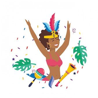 Donna che celebra l'illustrazione di vettore di carnevale del brasile
