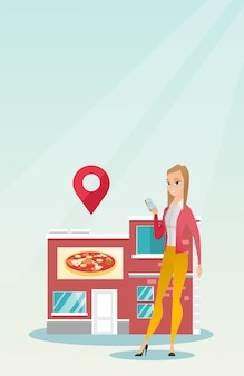 Donna che cerca un ristorante nel suo smartphone.