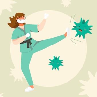 Donna che combatte il concetto di virus