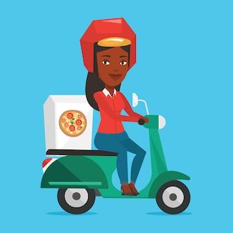 Donna che consegna pizza su scooter.