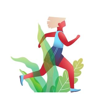 Donna che corre nella natura design piatto