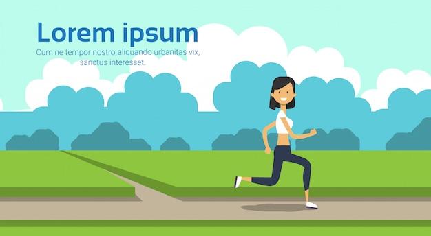 Donna che corre per tutta la lunghezza sul parco della città verde prato alberi modello paesaggio sfondo copia spazio piatto