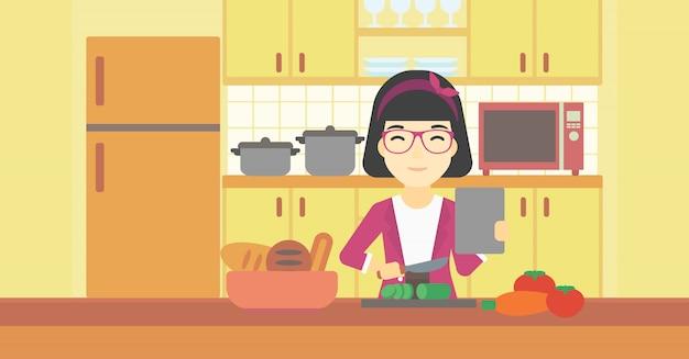 Donna che cucina insalata di verdure sana.