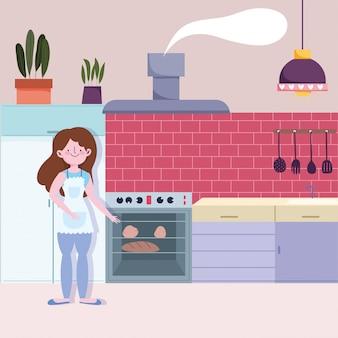 Donna che cuoce il pane in cucina