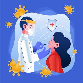 Donna che effettua il test del tampone nasale