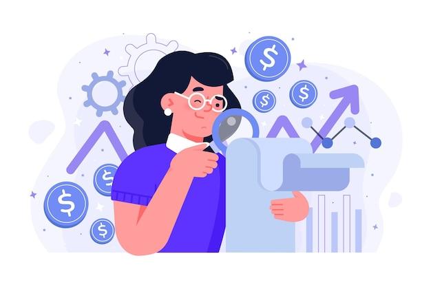 Donna che fa analisi del mercato azionario