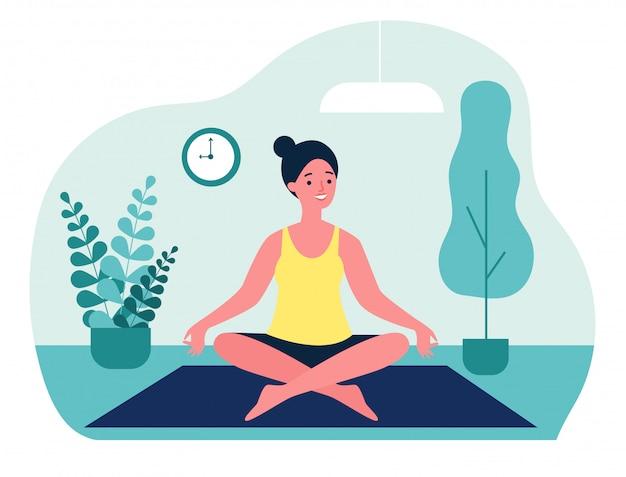 Donna che fa l'illustrazione di yoga di mattina a casa