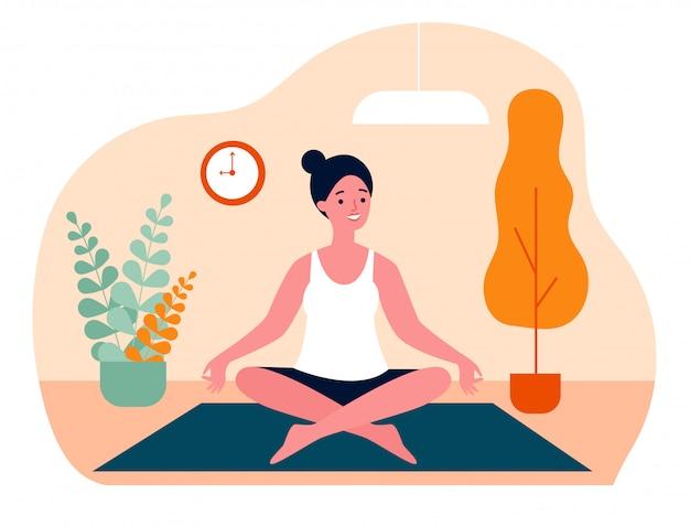 Donna che fa l'illustrazione piana di vettore di yoga di mattina a casa
