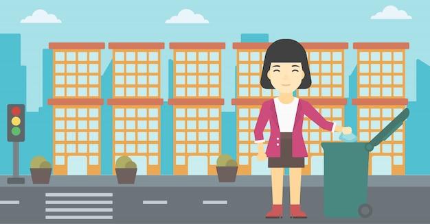Donna che getta via l'illustrazione di vettore dei rifiuti.