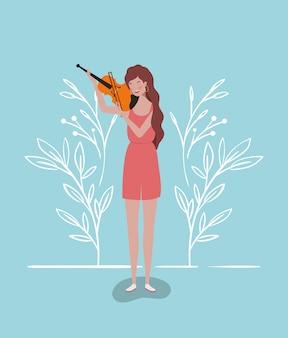 Donna che gioca il carattere dello strumento violino