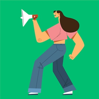 Donna che grida con un megafono