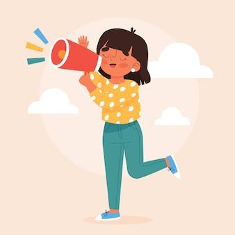 Donna che grida tramite il suo megafono