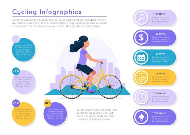 Donna che guida la bici con il paesaggio della città, elementi colorati di dati diversi.