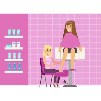 Donna che ha un trattamento pedicure presso spa o salone di bellezza. personaggio dei cartoni animati colorato
