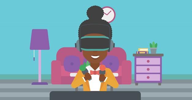 Donna che indossa le cuffie da realtà virtuale.