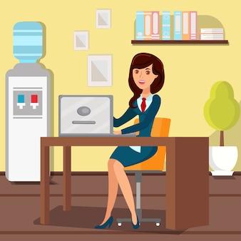 Donna che lavora con l'illustrazione piana di vettore del computer portatile