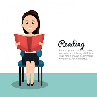 Donna che legge l'icona del libro di testo r