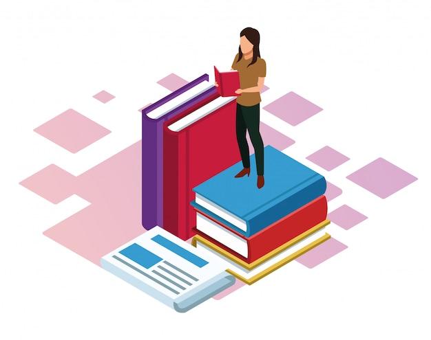 Donna che legge un libro e grandi libri intorno su sfondo bianco, colorato isometrico